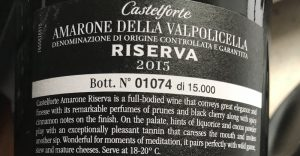Castelforte Amarone Riserva-2015-baksidesetikett-vinbanken