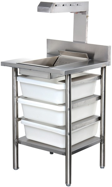 Chip Storage Table with Recessed Top and Warmer Lamp (Electric)