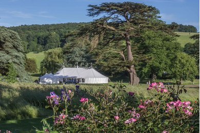 Marquee wedding reception at West Dean Gardens Image credit Steve Tattersall