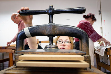 Marysa De Veer bookbinding course at West Dean College