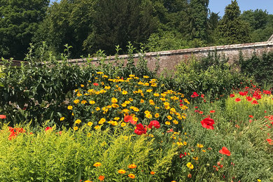 Hot borders in the Walled Garden at West Dean