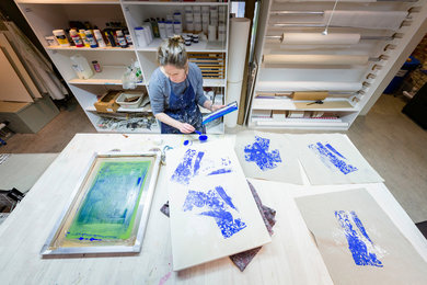 Philippa Clarke in art studio at West Dean College of Arts and Conservation