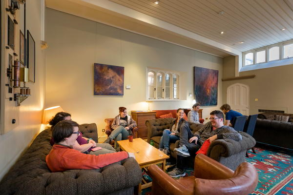 Students in the bar at West Dean College of Arts and Conservation
