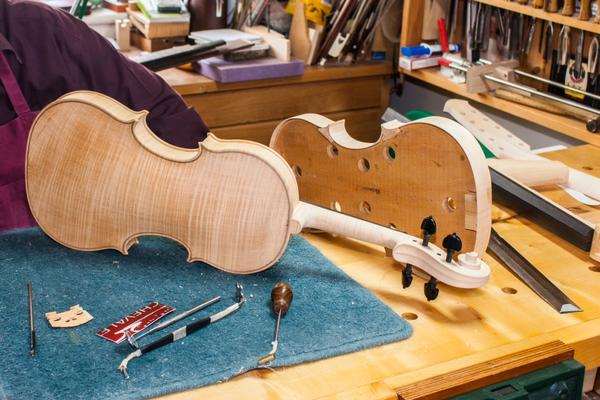 Making musical instruments in the workshop at West Dean College of Arts and Conservation