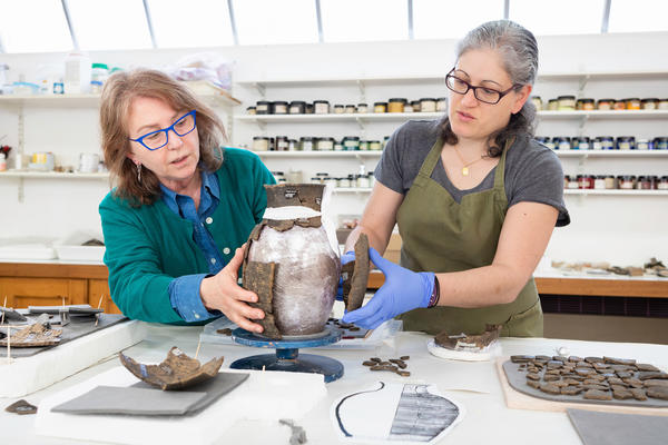 MA Ceramics student Andriani Maimaridou in workshop at West Dean College of Arts and Conservation