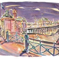 A watercolour painting of Brighton Pier by Paul Cox West Dean College