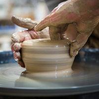 Alison Sandeman throwing pots