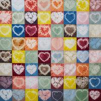 Rob Jones Shibori heart quilt