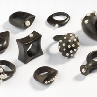 Sarah King jewellery in wood with silver and pearl inlay
