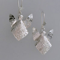 Sarah Macrae silver Christmas themed earrings