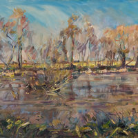 Tom Benjamin Painting autumn landscapes in oils