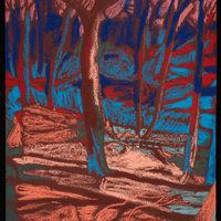 Mark Cazalet Liminal light – pastel drawing at night