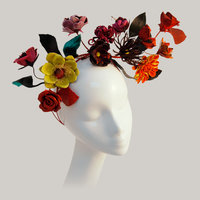 Anne Tomlin Millinery flower making – leather and silk flower headpiece