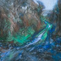 Sarah Bee Muddy Lane Cornwall pastel with acrylic