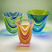 Aline Johnson Glass kiln-formed striped vases and coasters