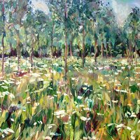 Tom Benjamin Spring landscape painting in oils