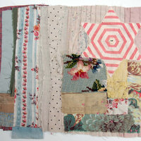 Mandy Pattullo Textile collage using vintage fabric