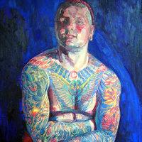George Popesco Self-portraits in mixed media