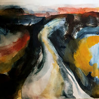 Melanie Rose Abstract landscape painting – watercolour and egg tempera