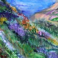 Jo Dixon Mixed media landscape painting