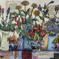 Vicky Oldfield Collagraph with chine collé – experimental printmaking