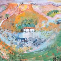 Jo Dixon Mixed media landscape painting