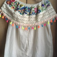 Hilary Simon Hand embroidered Mexican blouse