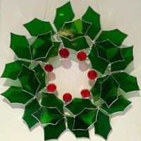Carole Gray Copperfoiled glass holly wreath for Christmas