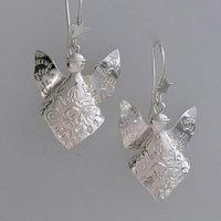 Sarah Macrae Silver Christmas themed earrings