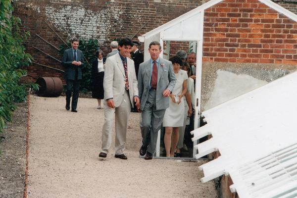 HRH The Prince of Wales tours the Victorian glasshouses with Jim Buckland, Gardens Manager at West Dean Gardens (August 1996)