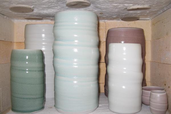 Porcelain vases in the kiln