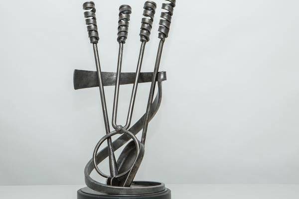 James Price: companion set, forged steel and slate by Hugh Fox