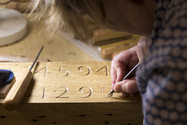 West Dean College letter carving in wood