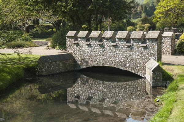 Flint bridge at West Dean Gardens West Sussex