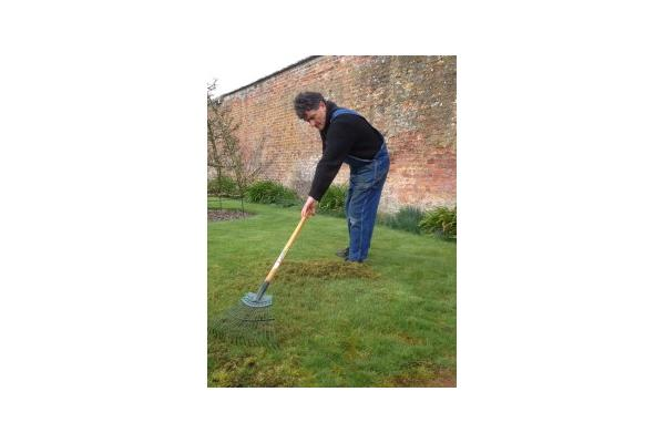Jim Buckland Gardens Manager Scarifying
