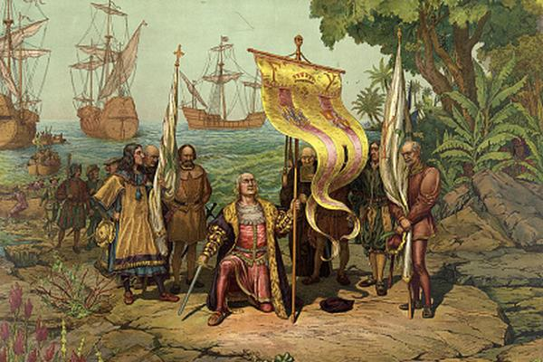 Columbus lands at the Americas in 1492