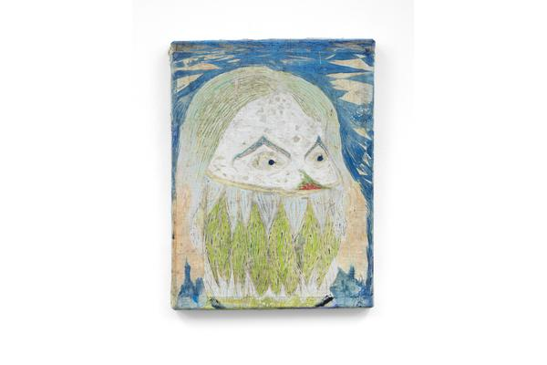Ross Taylor: Self-portrait with hair and toothache (2017) Oil paint, oil pastel and pencil on linen