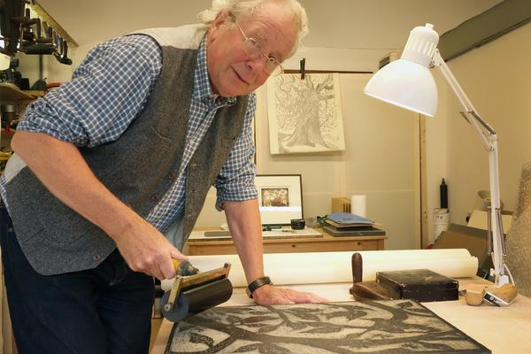 Printmaker Rod Nelson in his studio