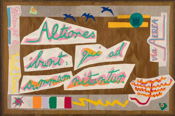 'Postcard to West Dean' hand-woven tapestry made at the West Dean Tapestry Studio, 1986