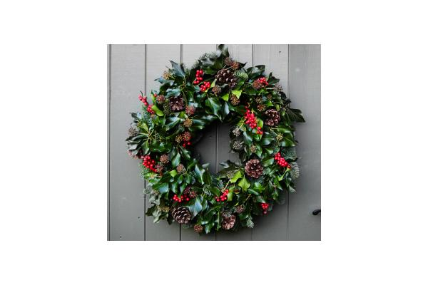 Christmas wreath made from holly