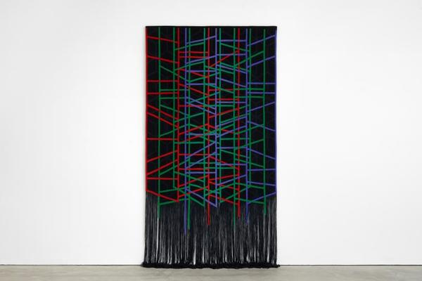 Eva Rothschild, The Fallowfield, 2018, tapestry weaving, 180 x 320 cm.  Photography by Robert Glowacki, copyright the artist, courtesy Stuart Shave/ Modern Art, London