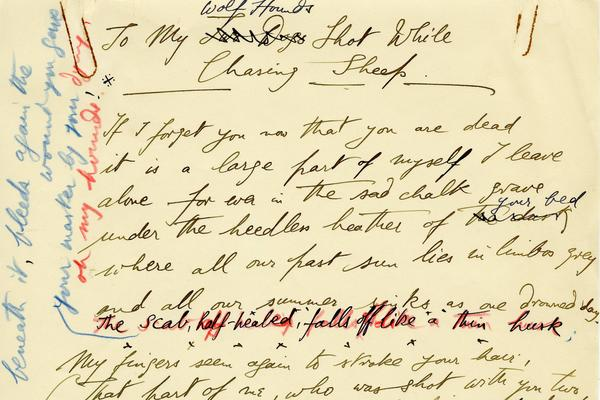 Edward James, draft of a poem published in 'The Bones of My Hands'. West Dean College, Part of the Edward James Foundation.