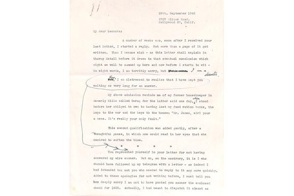 Edward James to Leonora Carrington, September 1946. © West Dean College of Arts and Conservation.