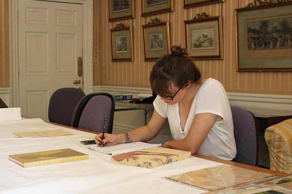 Emma Straw researching at West Dean College of Arts and Conservation