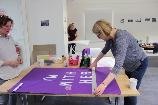 Banner Workshop. Left to Right: Rachel Johnston, Emma O'Driscoll, Rosemary Marley. Photo by Sarah Hughes