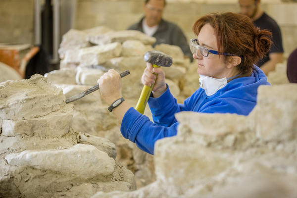 Lady on the conservation of masonry ruins course at West Dean College Credit Chris Ison