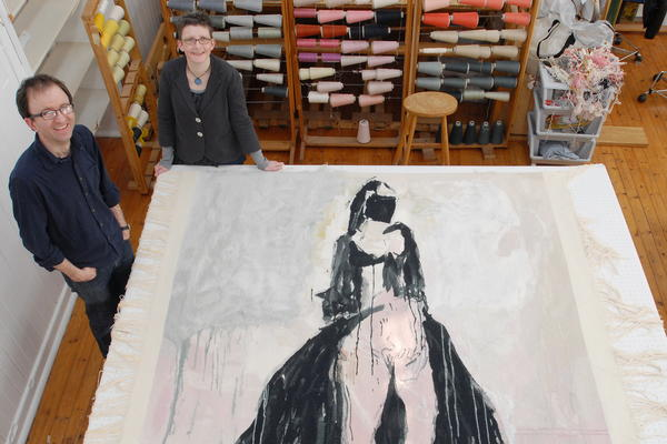 Philip Sanderson and Black Cat tapestry cutting off at West Dean College