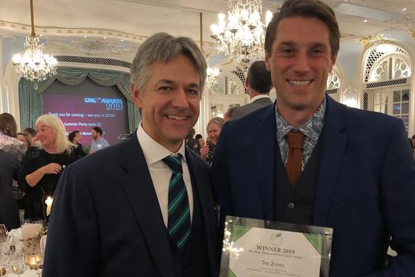 Tom Brown (right) with Alex Barron (Chief Executive, West Dean College of Arts and Conservation)