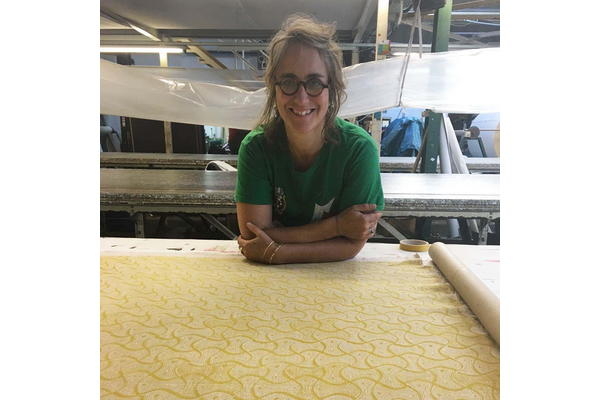 Sarah Burns with her fabric