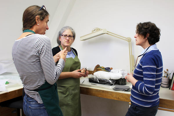 Conservation of Ceramics and Related Materials Programme Leader Lorna Calcutt, MA Conservation Studies student Andriani Maimaridou, and Workshop Associate Mariana Bareda
